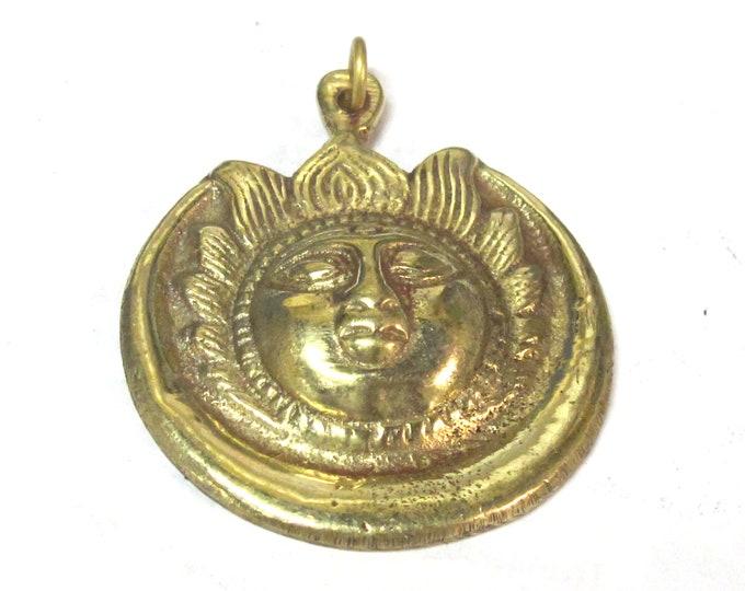 1 Pendant - Large Tibetan brass Sun face crescent moon pendant from Nepal - CP138