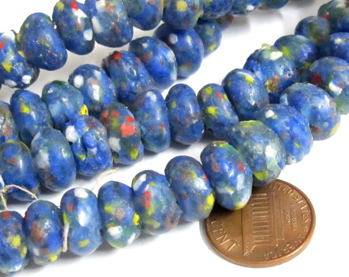 25 BEADS - African glass beads - African recycled glass donut shape beads blue color  - AB073