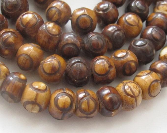 10 Beads-Dark Brown Tibetan bone mala beads supply 8 mm size with Guru bead -  ML014