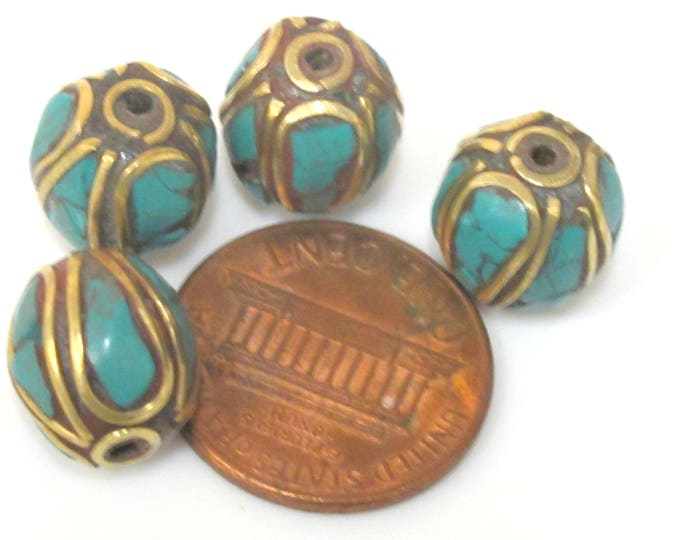 2  beads - Ethnic Nepal Tibetan brass bead with turquoise  inlay - BD961