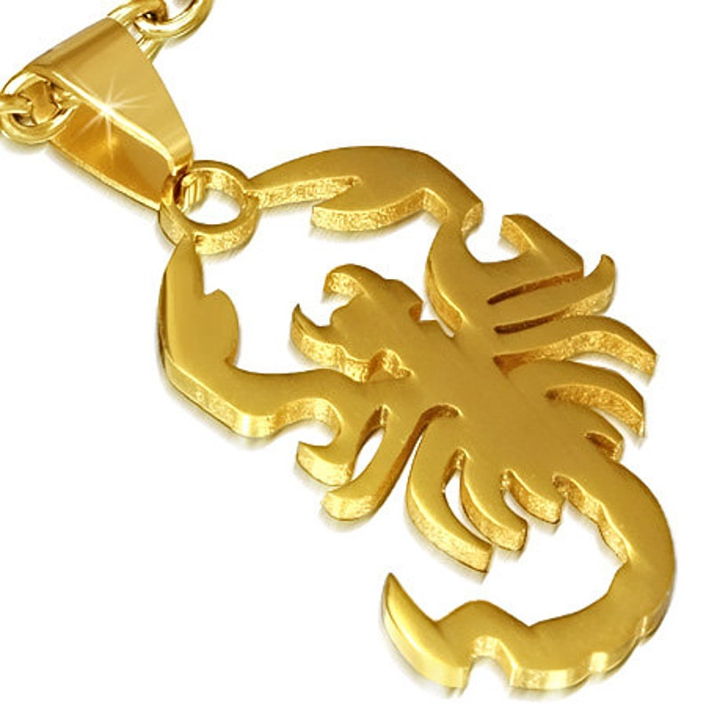 316L Stainless Steel gold tone plated scorpio zodiac sign pendant ST004A 1 Pendant