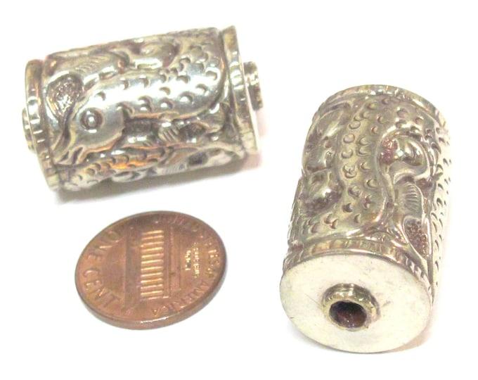 2 BEADS - Tibetan silver filigree dragon  snake design cylinder focal pendant bead antiqued finish  -  BD008Az