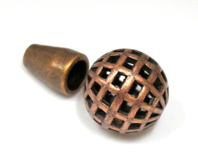 1 set - Tibetan copper tone 2 hole cut net design Guru bead 15 mm size with cone column bead  - GB022
