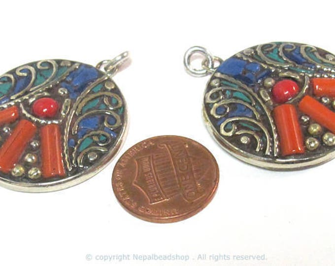 2 pieces  - Beautiful round oval disc shape ethnic peace symbol Tibetan pendant with turquoise lapis coral  inlay - PM576Bx