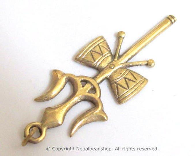 Long Tibetan brass Shiva Trident pendant - CP006 custom design copyright Nepalbeadshop