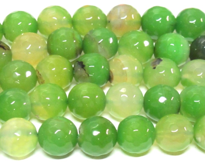 10 BEADS - 12 mm size  Faceted Green agate gemstone beads - GM422