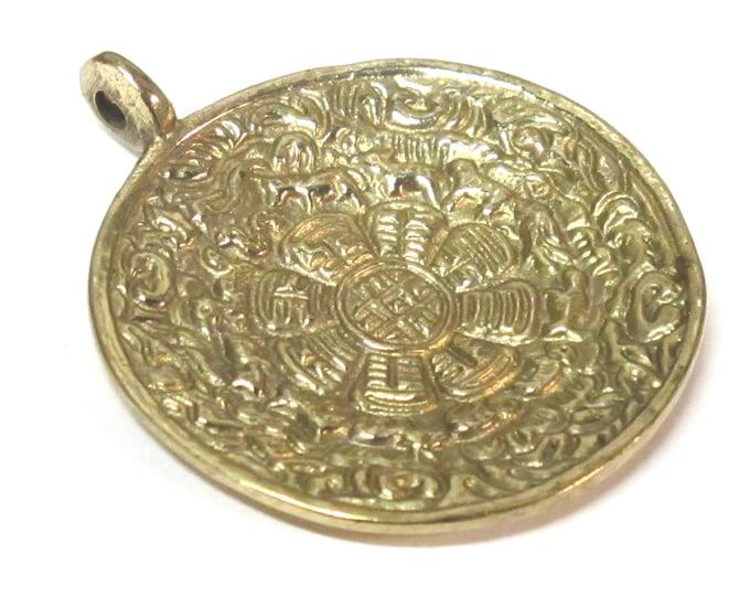 Tibetan ethnic timeline wheel calendar melong solid Brass pendant  50 mm height x 43 mm wide - CP124 custom design copyright Nepalbeadshop