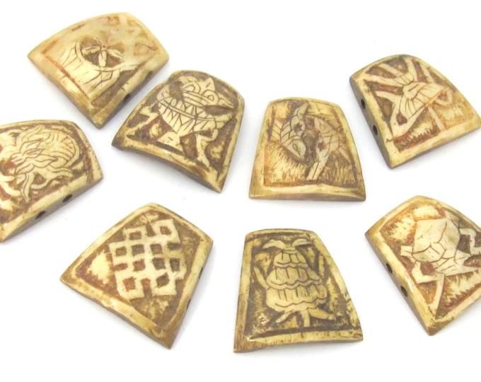 8 piece set - Tibetan ashtamangala symbols bone pendant bead kit set necklace making supplies - MG018