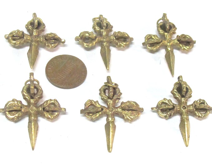 6 pendants  - small medium Ethnic Tibetan Dorje Phurba Vajra brass pendants from Nepal wholesale bulk  - CP084s