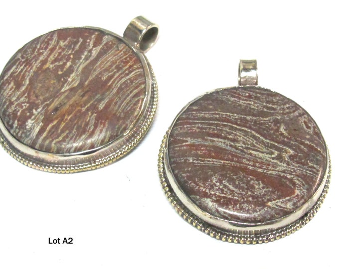 1 pendant -  Beautiful Tibetan jasper gemstone pendants with reverse side floral design   - PM001AE