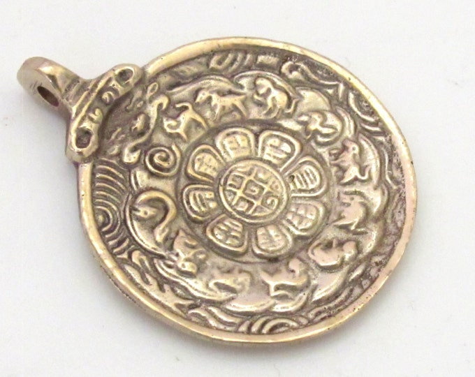 3 pendants - Medium 37 - 38 mm wide  Tibetan Om with calendar  timeline wheel Solid Brass pendant - CP059s