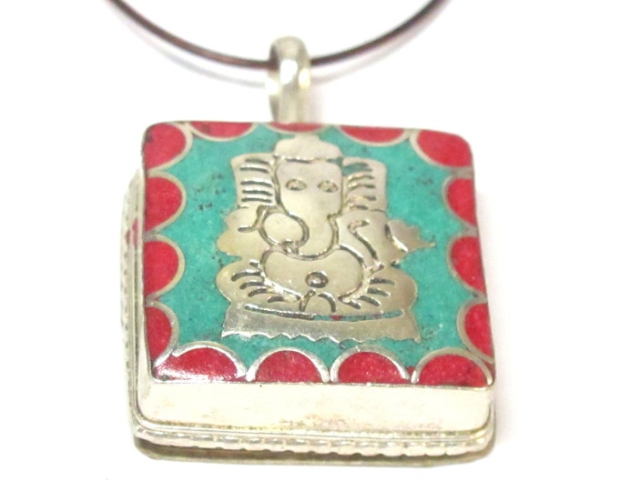 1 box pendant - Tibetan silver color Ganesha Ghau prayer box pendant from Nepal with turquoise coral inlay - PM375GA
