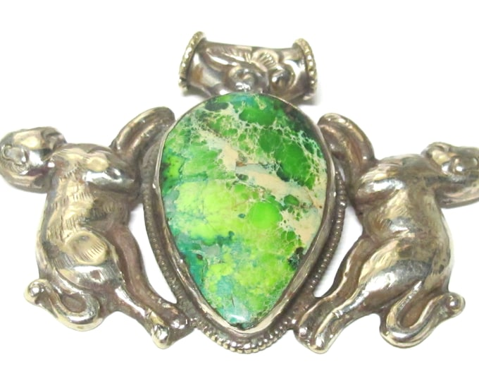 OOAK unique Pendant - Large Big bold size Green Jasper tibetan double monkey design and reverse bird floral repousse - PM217H