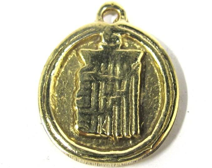 1 Pendant - Buddhist kalachakra mantra brass pendant from Nepal - CP097