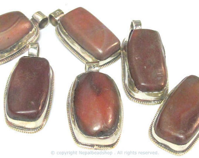 3 Pendants  - Himalayan natural carnelian gemstone tibetan silver pendant with reverse side flower carving - PM577Ex