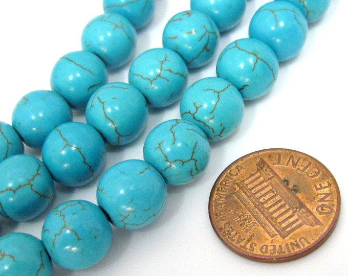 10 Beads - 10 mm size round shape howlite turquoise beads - GM387