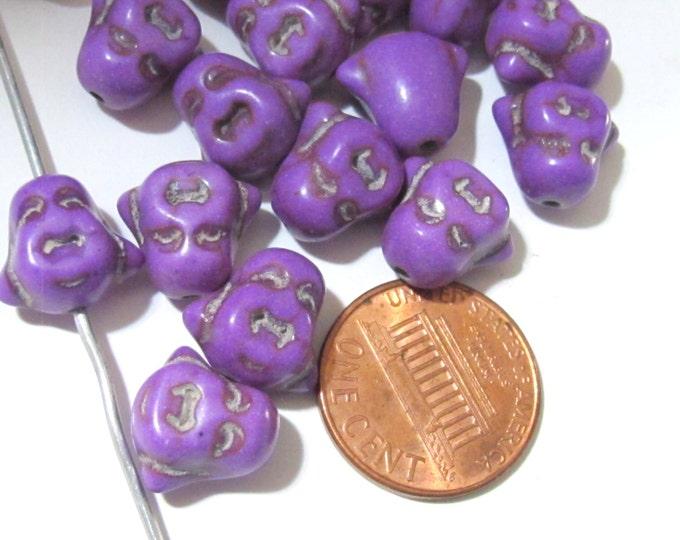 4 BEADS - Smiling Buddha beads Purple howlite magensite - BD601B