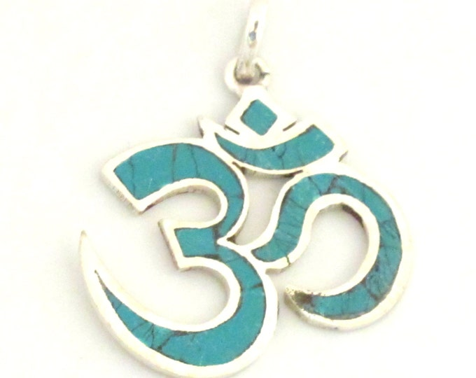 3 Pendants - Tibetan silver plated Om pendant  with turquoise inlay from Nepal - PM265s