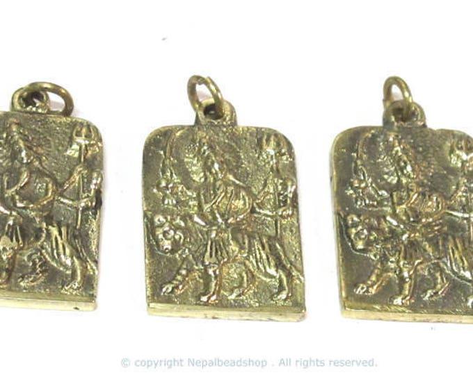 3 Pendants - Hindu Goddess Durga Maa and Om reversible Brass amulet pendant - CP114xs