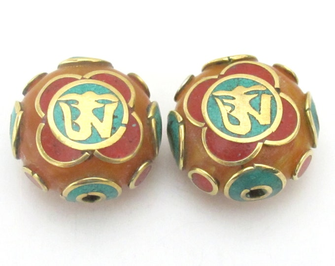 2 BEADs - Tibetan copal resin Om bead with brass , turquoise and coral inlay -BD490B