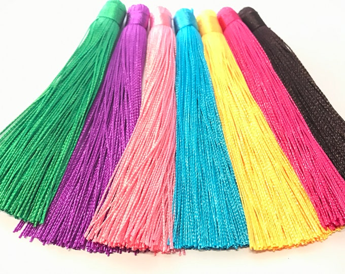 7 pieces - Assorted 7 colors long silk tassel lot charm supplies - 120 mm long - BD875Mx