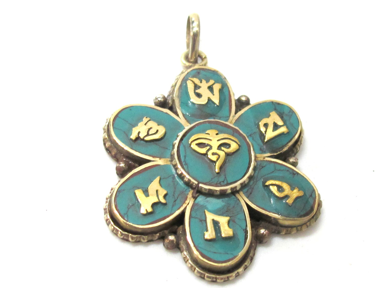 1 Pendant Tibetan Buddha Eye Lotus Flower Om Pendant With