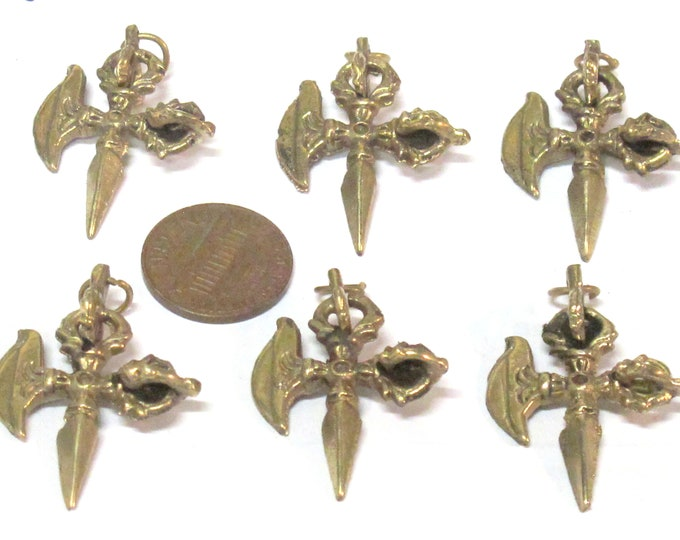 6 Pendants - Ethnic small medium size Tibetan Dorje Vajra axe brass pendant from Nepal wholesale bulk supply - CP137s