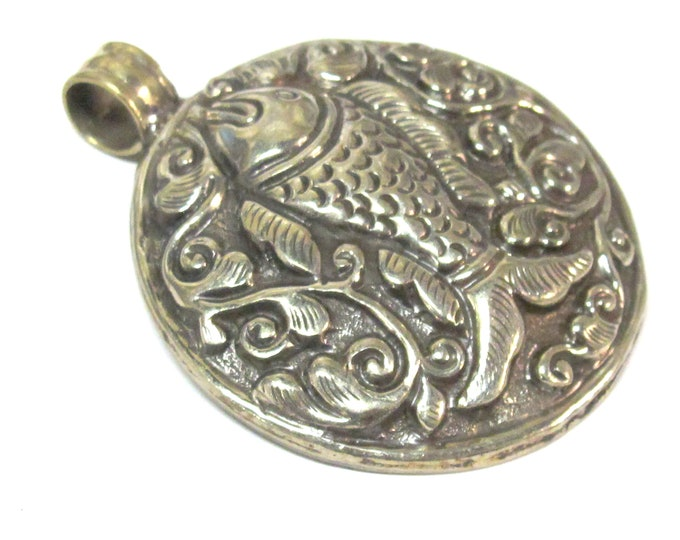 Large size Tibetan antiqued silver finish repousse Fish pendant with reverse side carving Nepal - PM351V