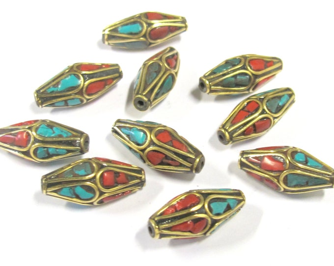 10 Beads -  Bicone ethnic Nepal brass beads with turquoise coral inlay - BD0815s