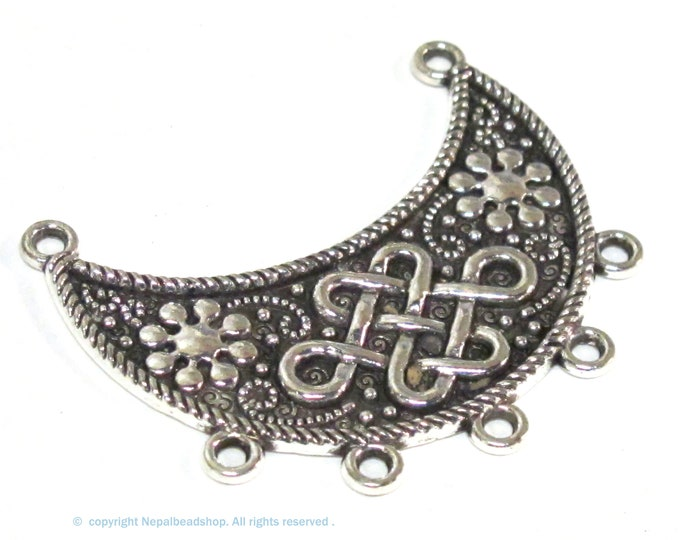 2 Pendants  - Medium size half crescent moon shape tribal pendant antiqued silver finish infinity knot symbol  - PM014B