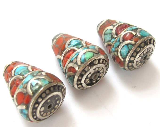 2 Beads -  Nepal brass cone beads with turquoise coral inlay  - BD238