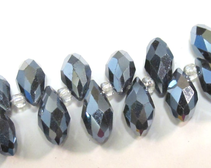 10 beads - Faceted teardrop shape smoky grey black color shiny crystal glass beads - AB068