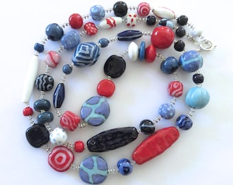 Red Blue and White Kazuri Bead Necklace, Fair Trade Beads, Ceramic Necklace, Statement Necklace