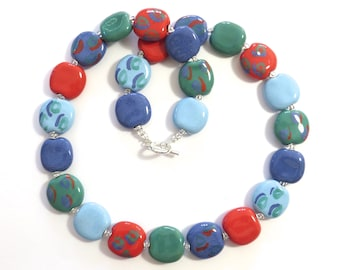 Kazuri Bead Necklace, Light Blue, French Blue, Teal Green and Coral Coloured Statement Necklace, Ceramic Necklace