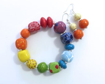 Kazuri Beaded Bangle, Fair Trade, Ceramic Jewelry, Kazuri Earrings, Rainbow Colour