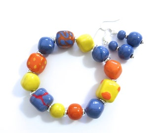 Kazuri Beaded Bangle, Fair Trade, Ceramic Jewelry, Kazuri Earrings, Yellow Orange and French Blue