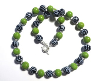 Kazuri Bead Necklace, Statement Necklace, Fair Trade, Ceramic Necklace, Navy Blue and Green African Bead Necklace