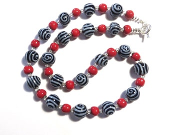 Kazuri Bead Necklace, Navy Blue and Red Ceramic Necklace