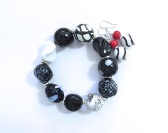 Kazuri Beaded Bangle, Fair Trade, Ceramic Jewelry, Kazuri Earrings,  Black and White