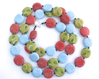 Kazuri Bead Necklace, Light Blue, Green and Red Statement Necklace, Ceramic Necklace