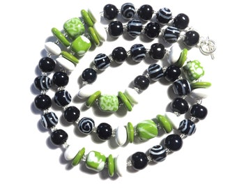 Kazuri Bead Necklace, Statement Necklace, Fair Trade, Ceramic Necklace, Navy Blue Green and White African Bead Necklace