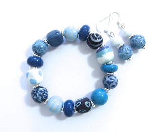 Kazuri Beaded Bangle, Fair Trade, Ceramic Jewelry, Kazuri Earrings, Shades of Blue