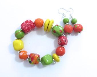 Kazuri Beaded Bangle, Fair Trade, Ceramic Jewelry, Kazuri Earrings, Autumn Colour
