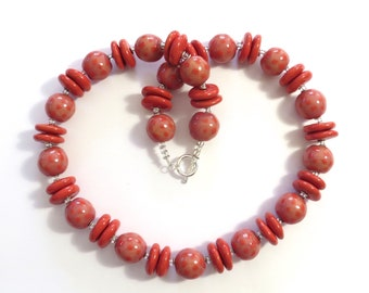 Kazuri Necklace, Fair Trade Beads, Pink and Red Spotted Ceramic Necklace