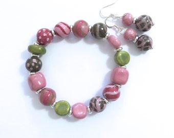 Kazuri Beaded Bangle, Fair Trade, Ceramic Jewelry, Kazuri Earrings,  Pink Grey and Green