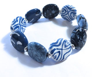 Kazuri Bangle, Blue and White Ceramic Bracelet
