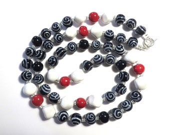 Kazuri Bead Necklace, Navy Blue, White and Red Ceramic Necklace