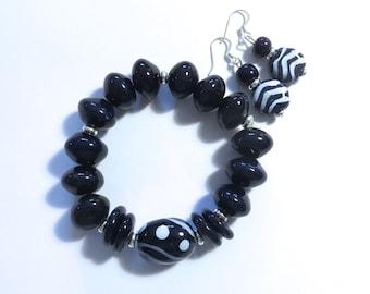 Kazuri Beaded Bangle, Fair Trade, Ceramic Jewelry, Kazuri Earrings,  Dark Navy Blue