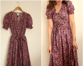 Laura Ashley Floral Summer Cotton Day Dress Size UK 8-10
