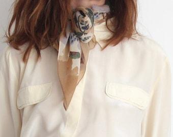 90s Autumnal Laura Ashley 100% Silk Hand Rolled Scarf